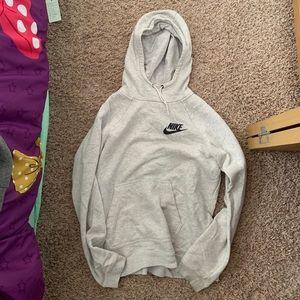 Grey funnel neck Nike hoodie